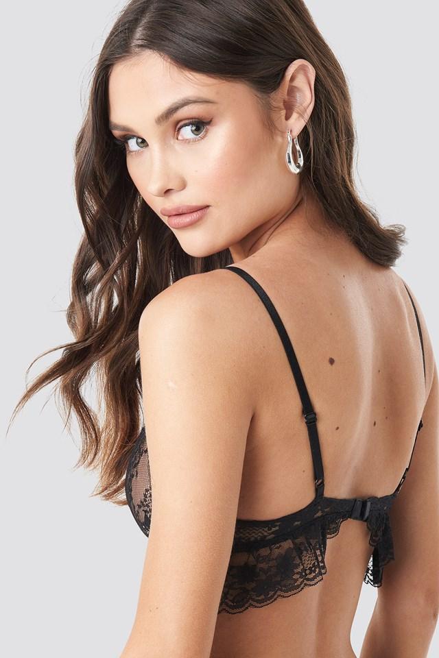Wavy Lace Bralette Black