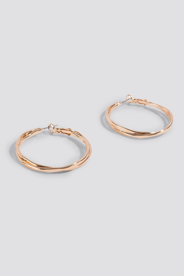 Wavy Layered Hoop Earrings Gold