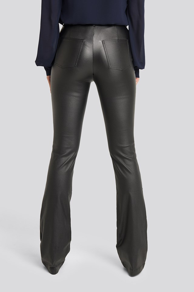 Waxed Bootcut Pants Black