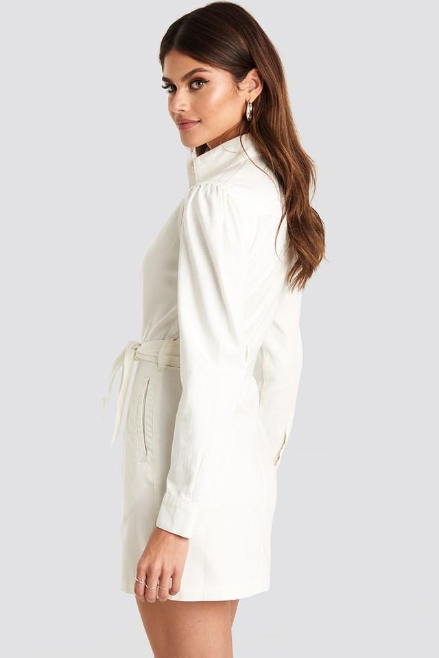 Western Denim Dress White