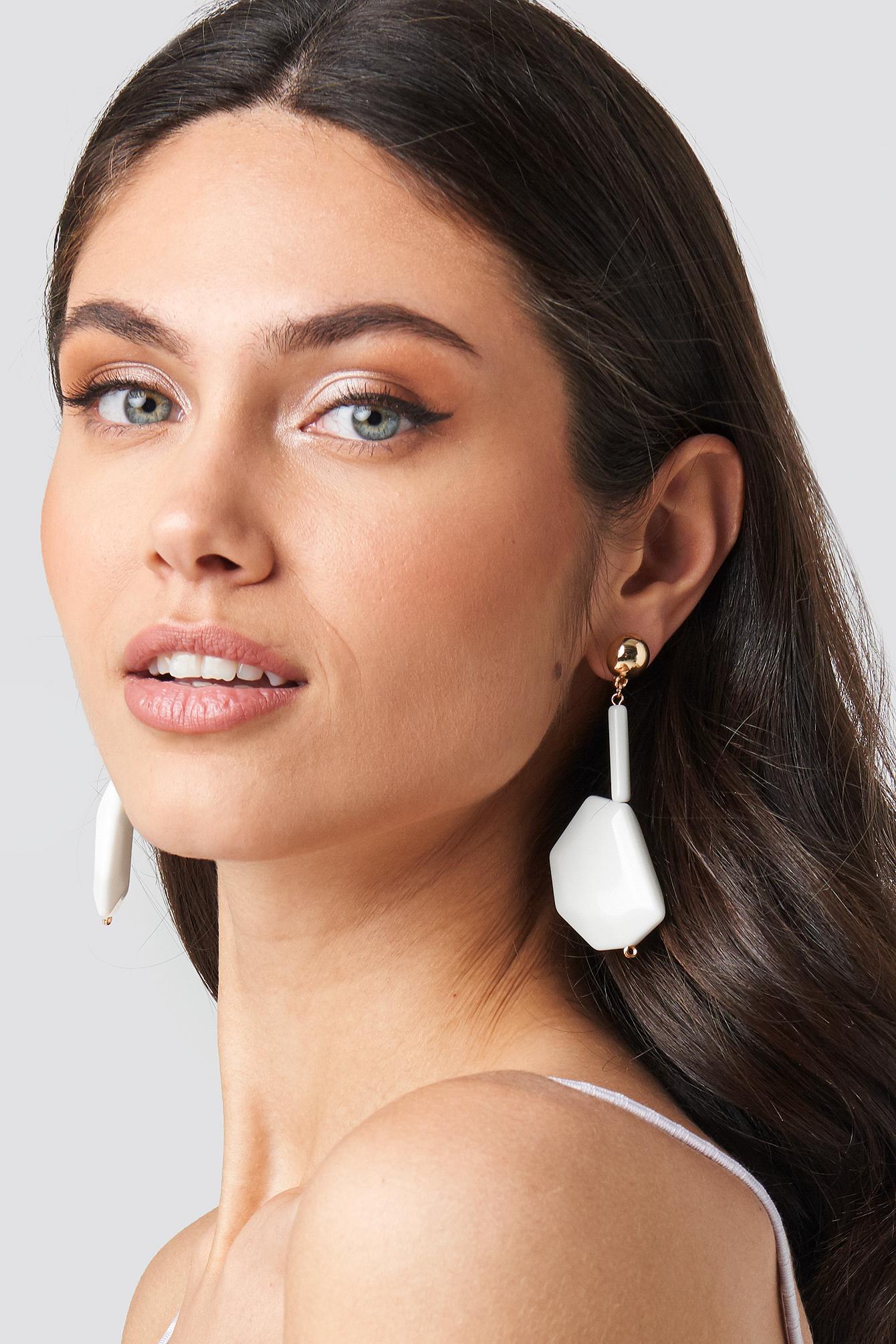 na-kd accessories -  White Stone Drop Earrings - White