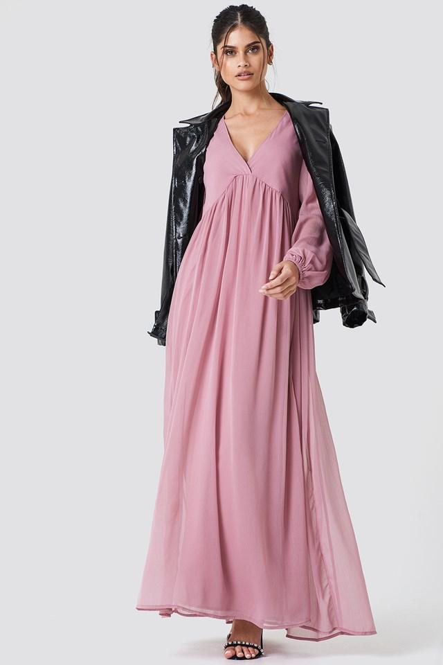 Wide Balloon Sleeve Chiffon Dress NA-KD.COM
