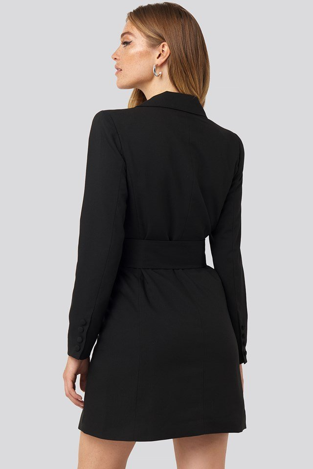 Wide Belt Blazer Dress Black