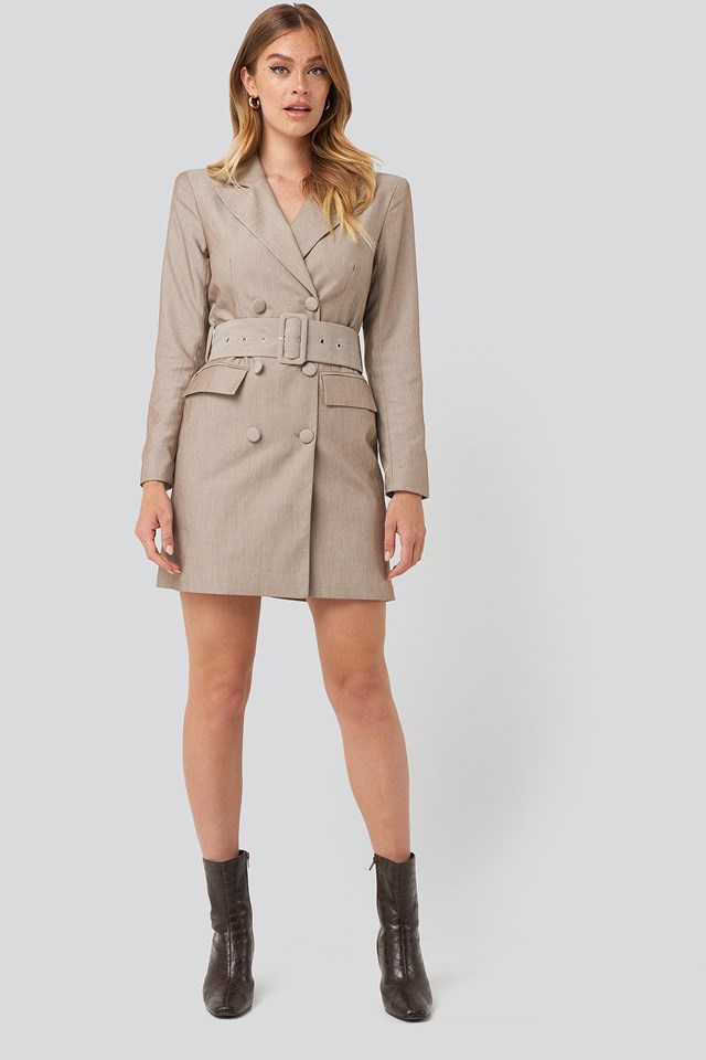 Wide Belt Blazer Dress Light Brown
