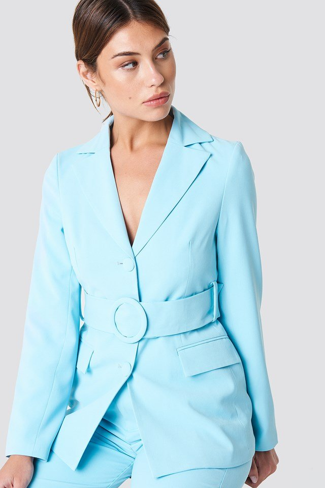 Wide Belted Blazer Light Blue