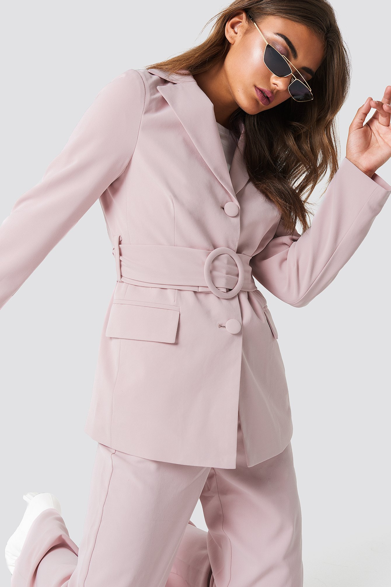 na-kd classic -  Wide Belted Blazer - Pink