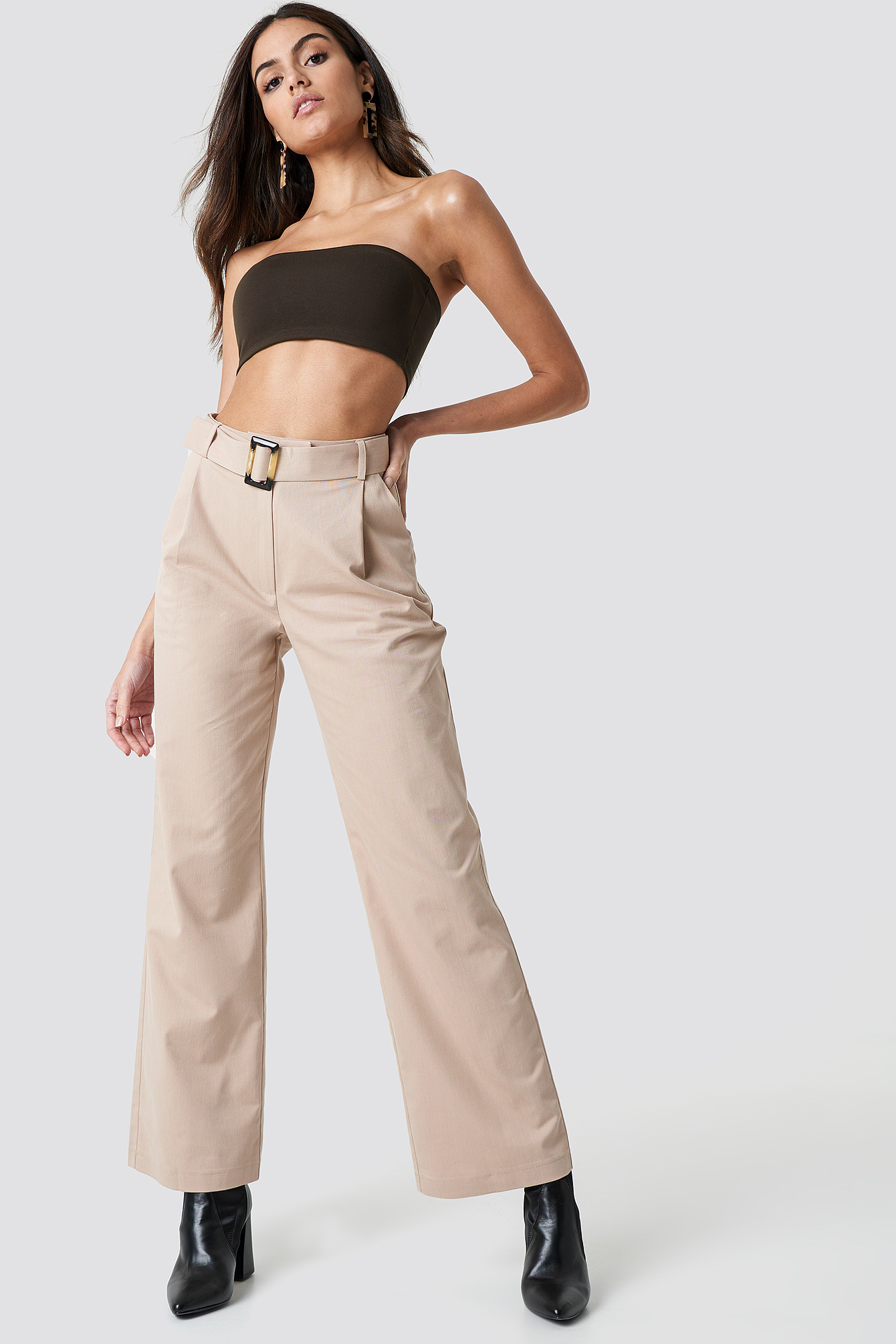 Wide Belted Cotton Blend Pants NA-KD.COM
