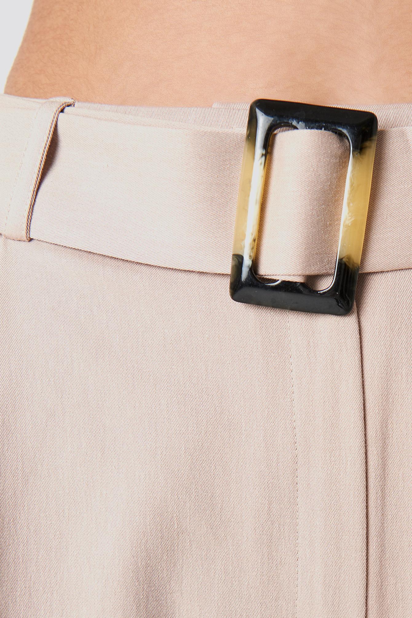 Wide Belted Cotton Blend Pants NA-KD.COM
