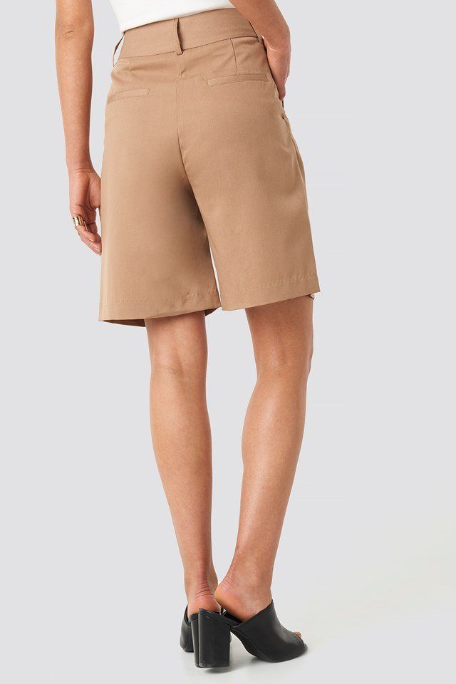 Wide Bermuda Shorts Camel