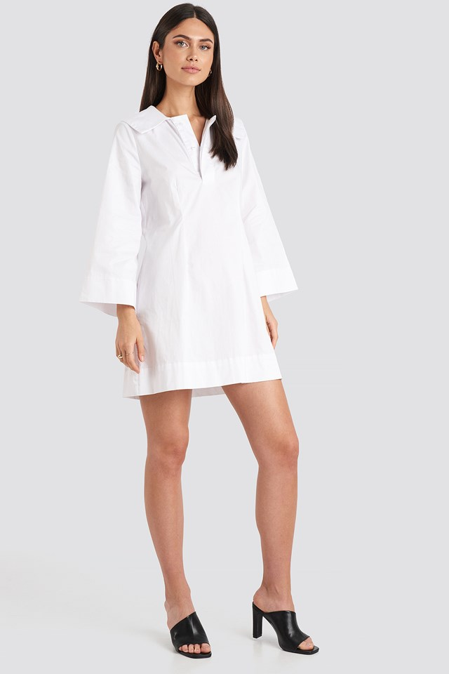 Wide Collar Cotton Shirt Dress White