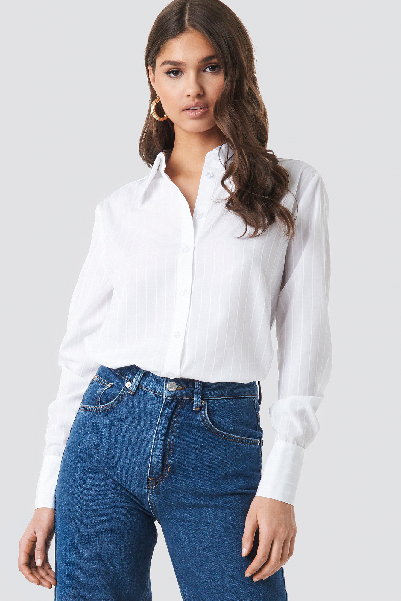 Wide Collar Striped Shirt NA-KD.COM