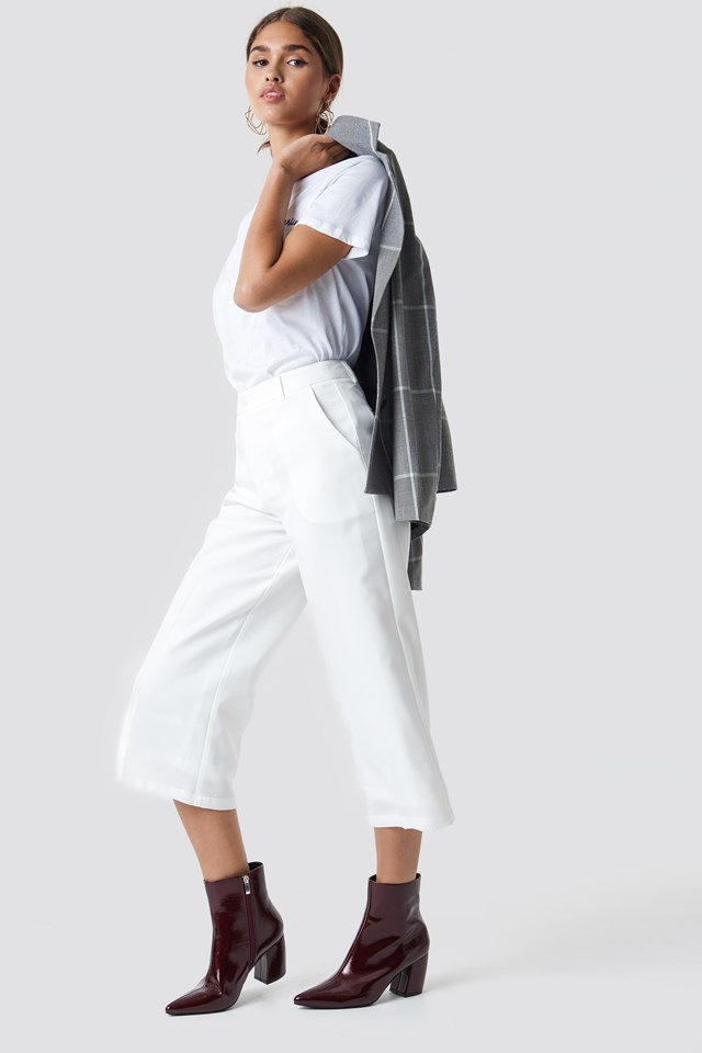 Wide Cropped Trousers White