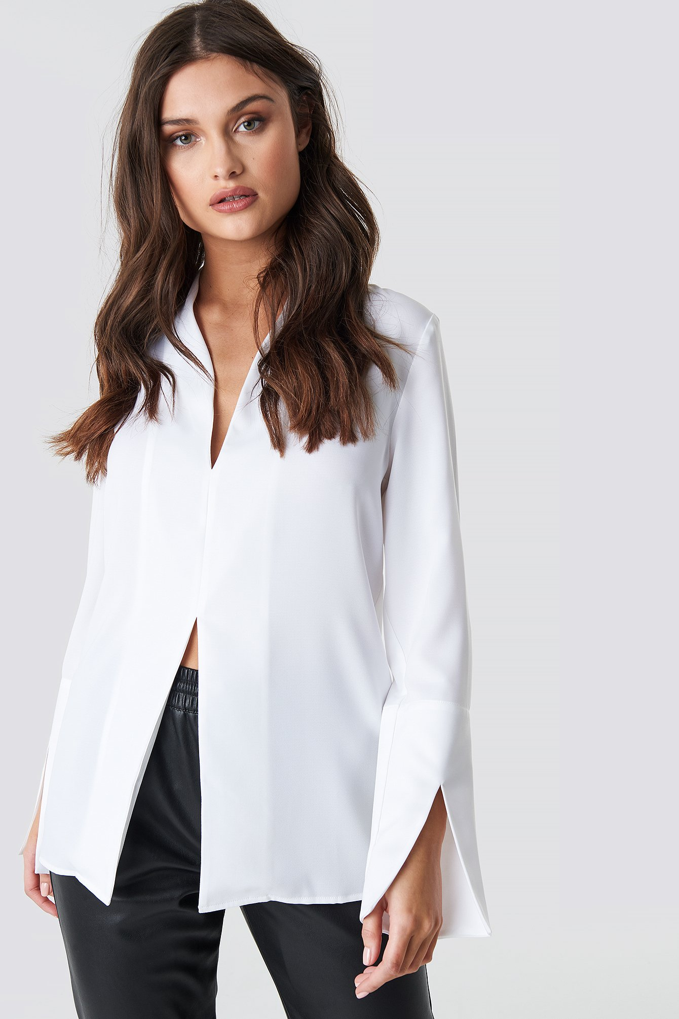 White Wide Cuff Slit Detail Blouse