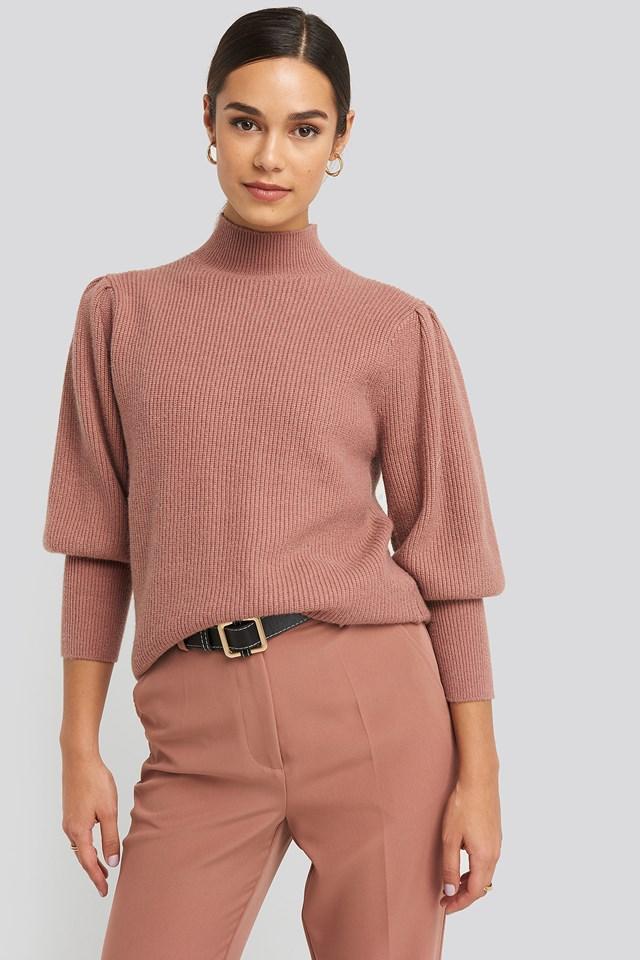 Wide Cuff Balloon Sleeve Knitted Sweater Dusty Dark Pink