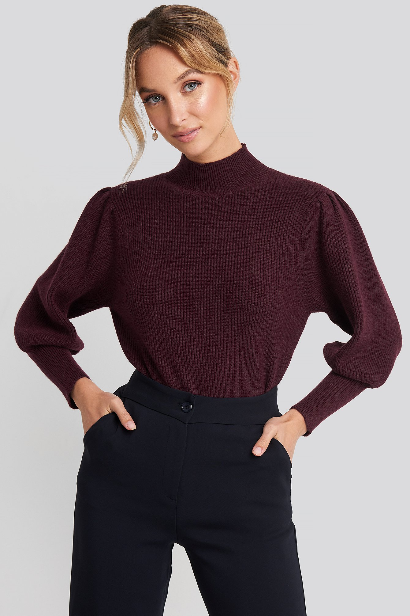 Wide Cuff Balloon Sleeve Knitted Sweater Rouge by Na Kd