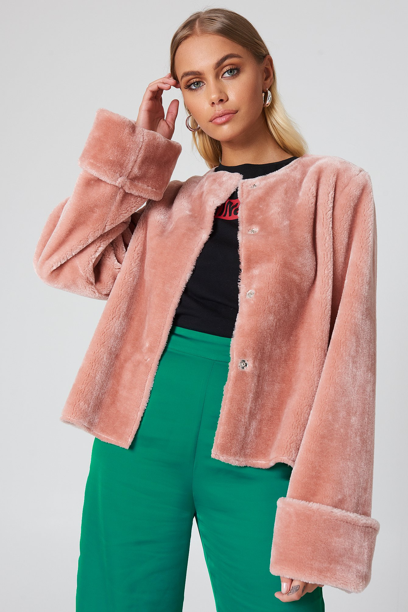 Wide Cuff Faux Fur Jacket