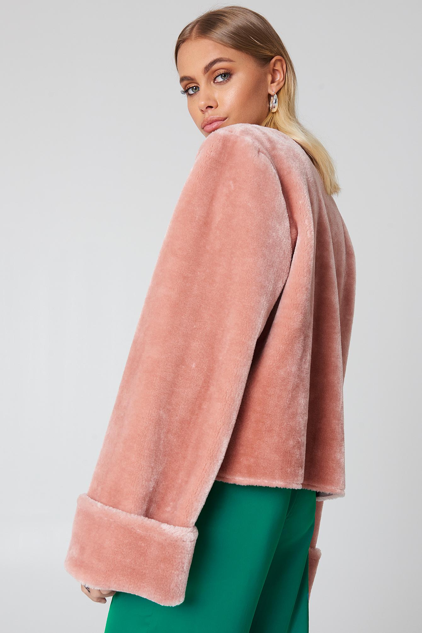 NA-KD Wide Cuff Faux Fur Jacket tjTIlnc7w