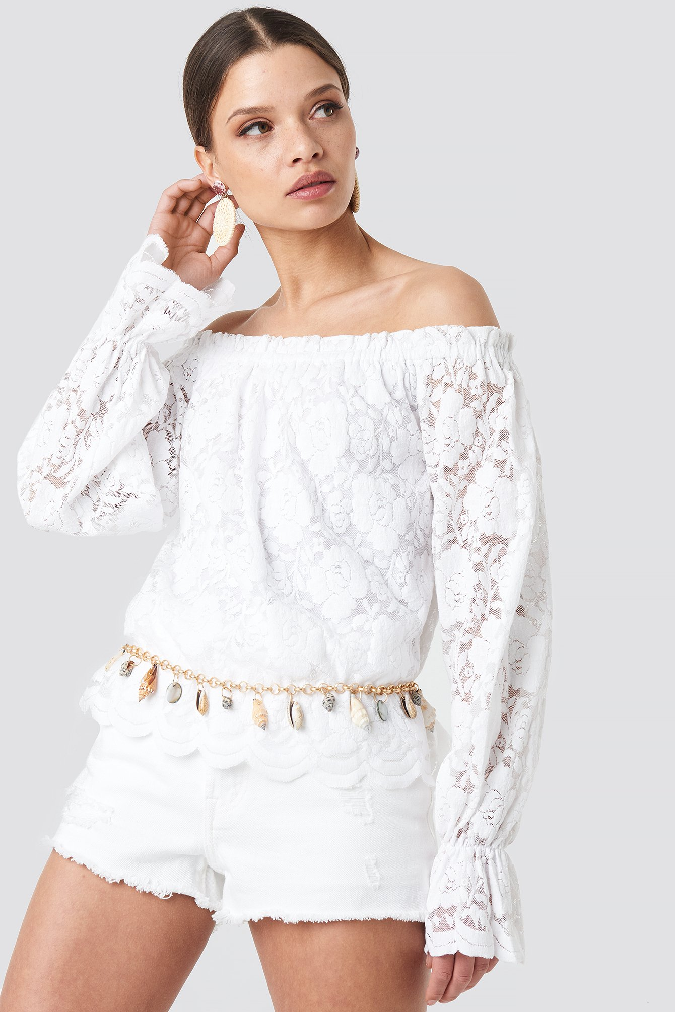 na-kd boho -  Wide Cuff Off Shoulder Lace Top - White