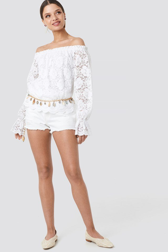Wide Cuff Off Shoulder Lace Top White
