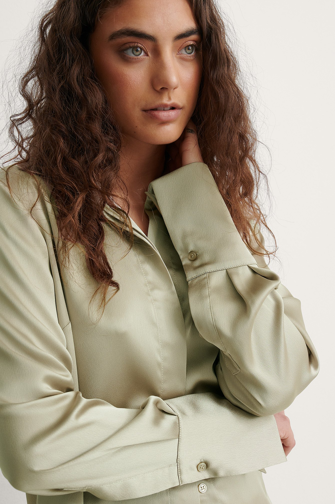 Green Wide Cuff Satin Blouse