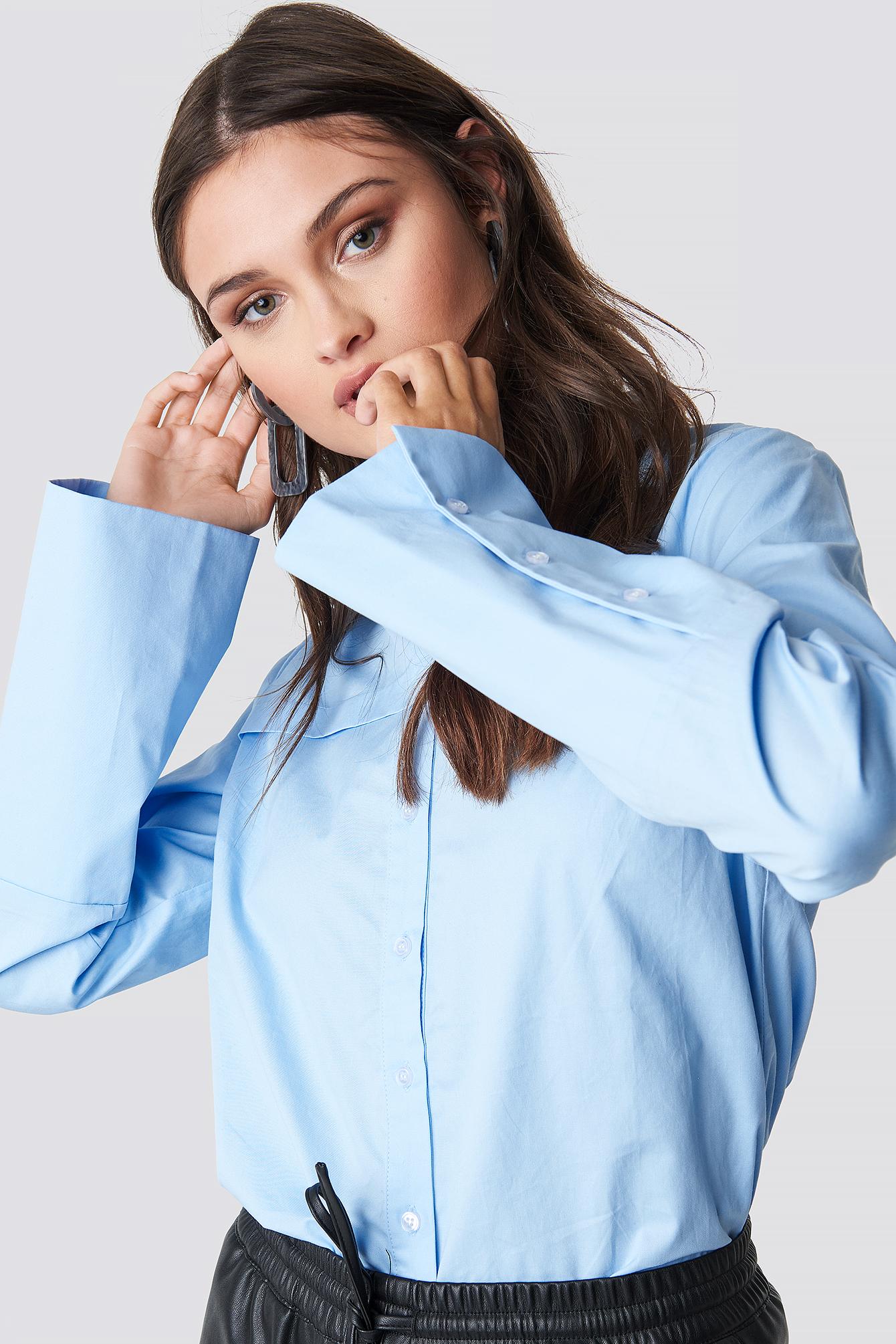 NA-KD Classic Wide Cuff Shirt - Blue | Bekleidung > Shirts > Sonstige Shirts | NA-KD Classic