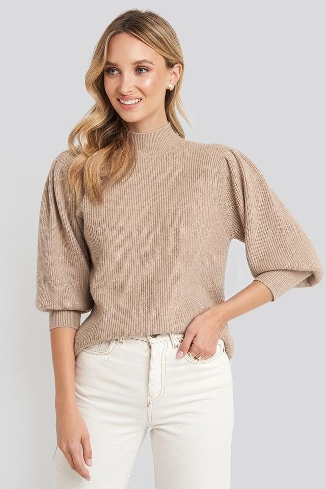 Wide Cuff Balloon Sleeve Knitted Sweater Beige