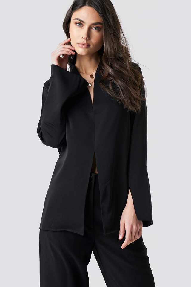 Wide Cuff Slit Detail Blouse Black