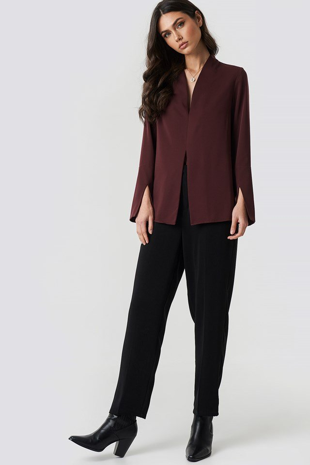 Wide Cuff Slit Detail Blouse NA-KD.COM