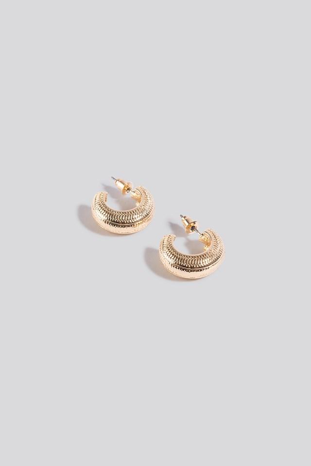 Wide Detailed Hoop Earrings Gold