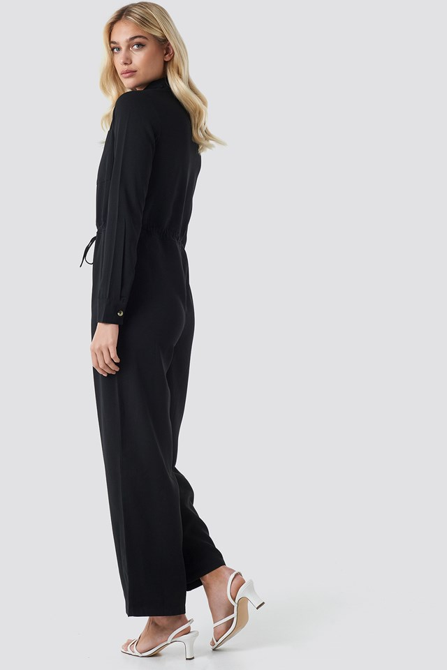 Wide Drawstring Jumpsuit Black
