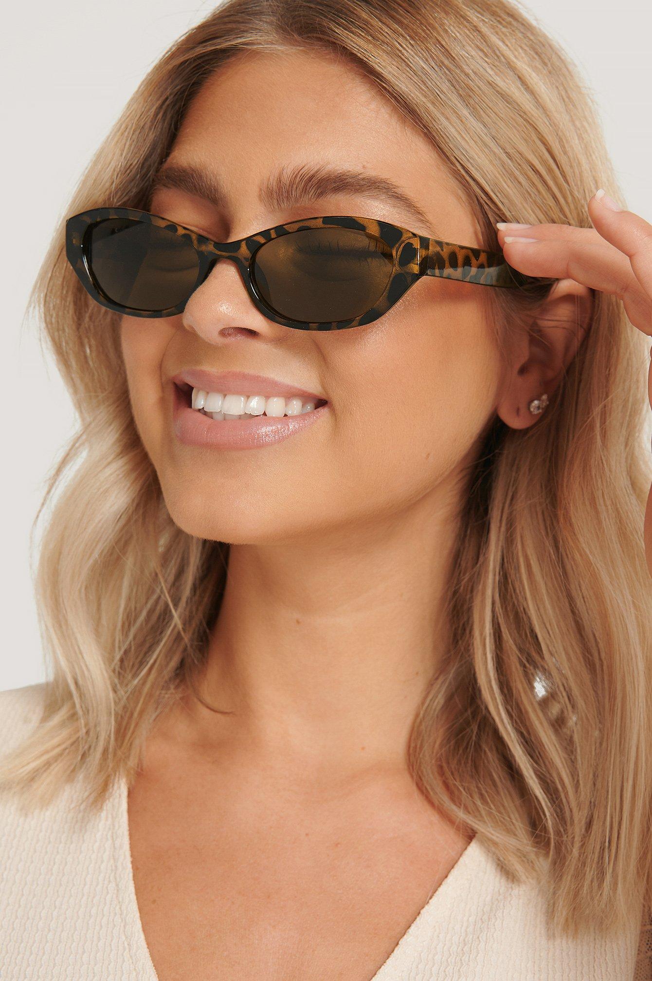na-kd accessories -  Breite Sonnenbrille Im Retro-Look - Brown