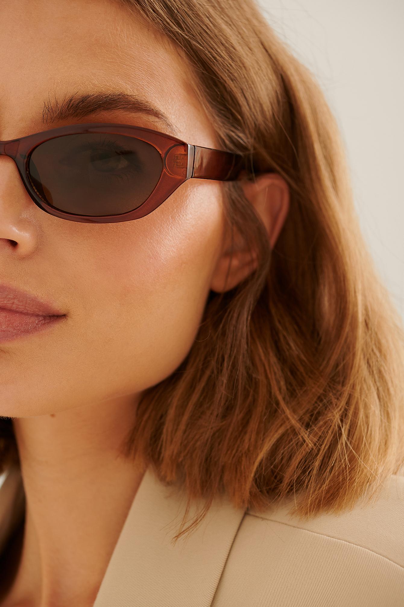 NA-KD Accessories Solbriller I Genanvendt Materiale Med Bred Dråbeformet Retroform - Brown