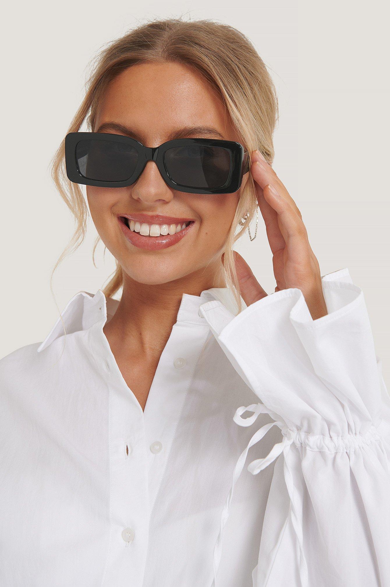 na-kd accessories -  Sonnenbrille Mit Breitem Rahmen - Black