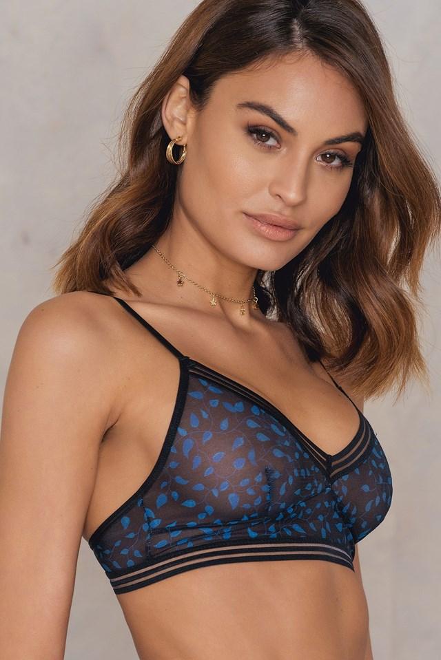Wide Elastic Printed Mesh Bralette Black/Blue Pattern