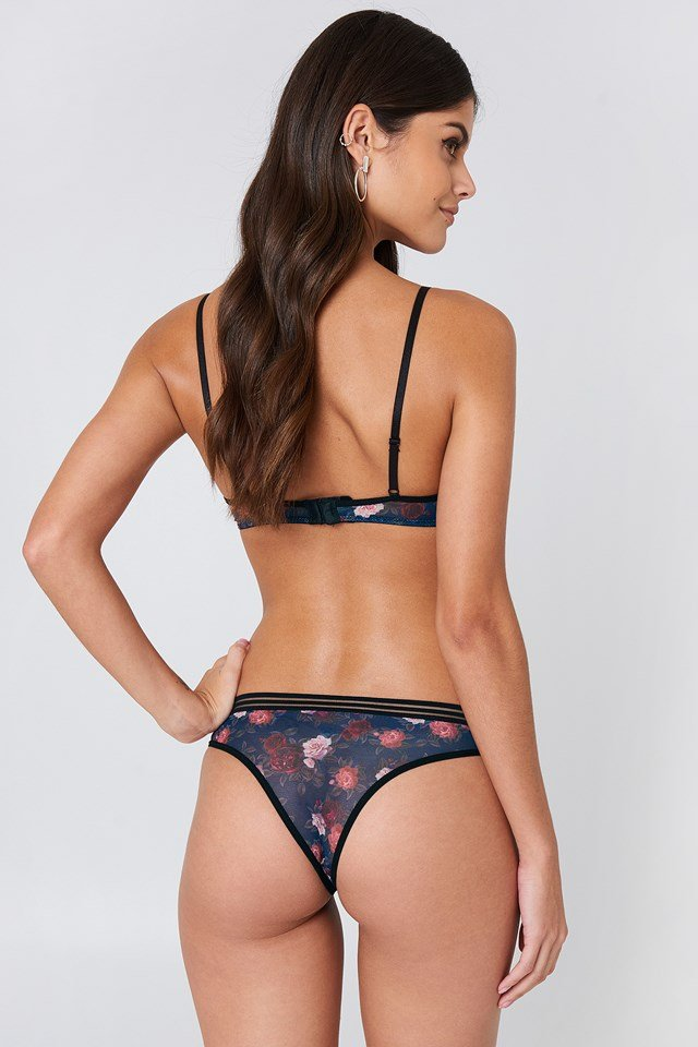 Wide Elastic Printed Mesh Briefs Dark Rose