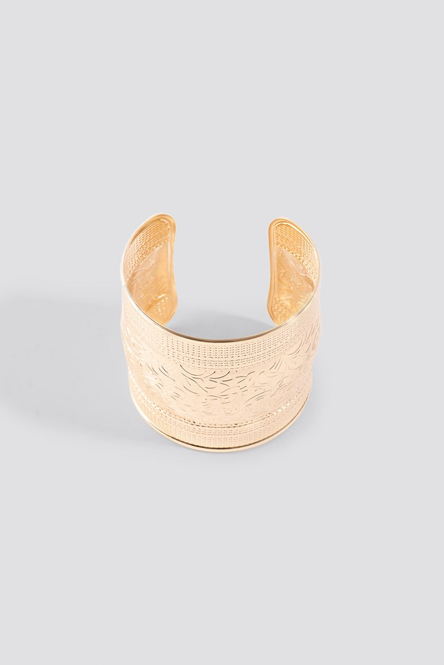 Wide Engraved Armcuff Gold