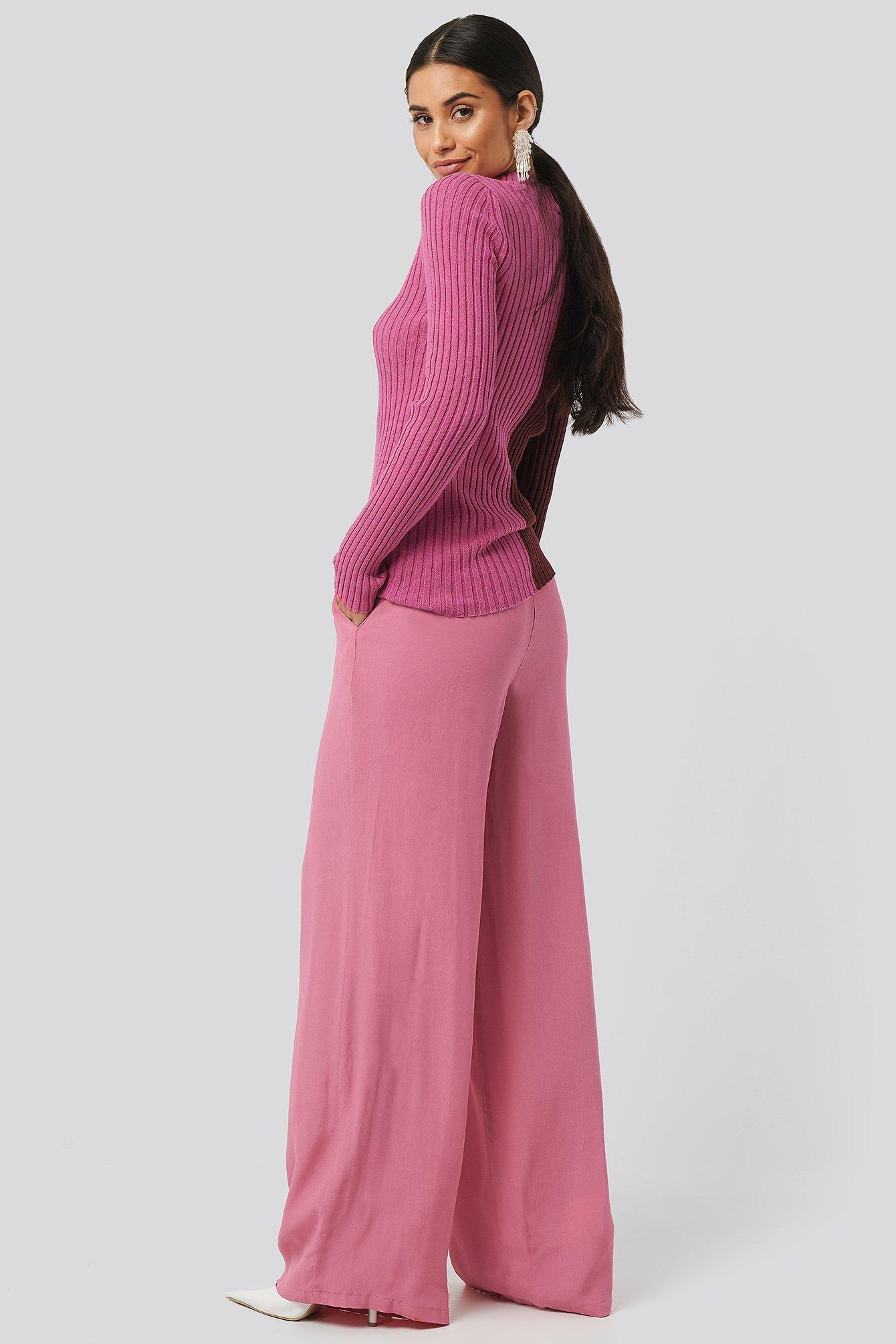 na-kd -  Wide Flowy Pants - Pink