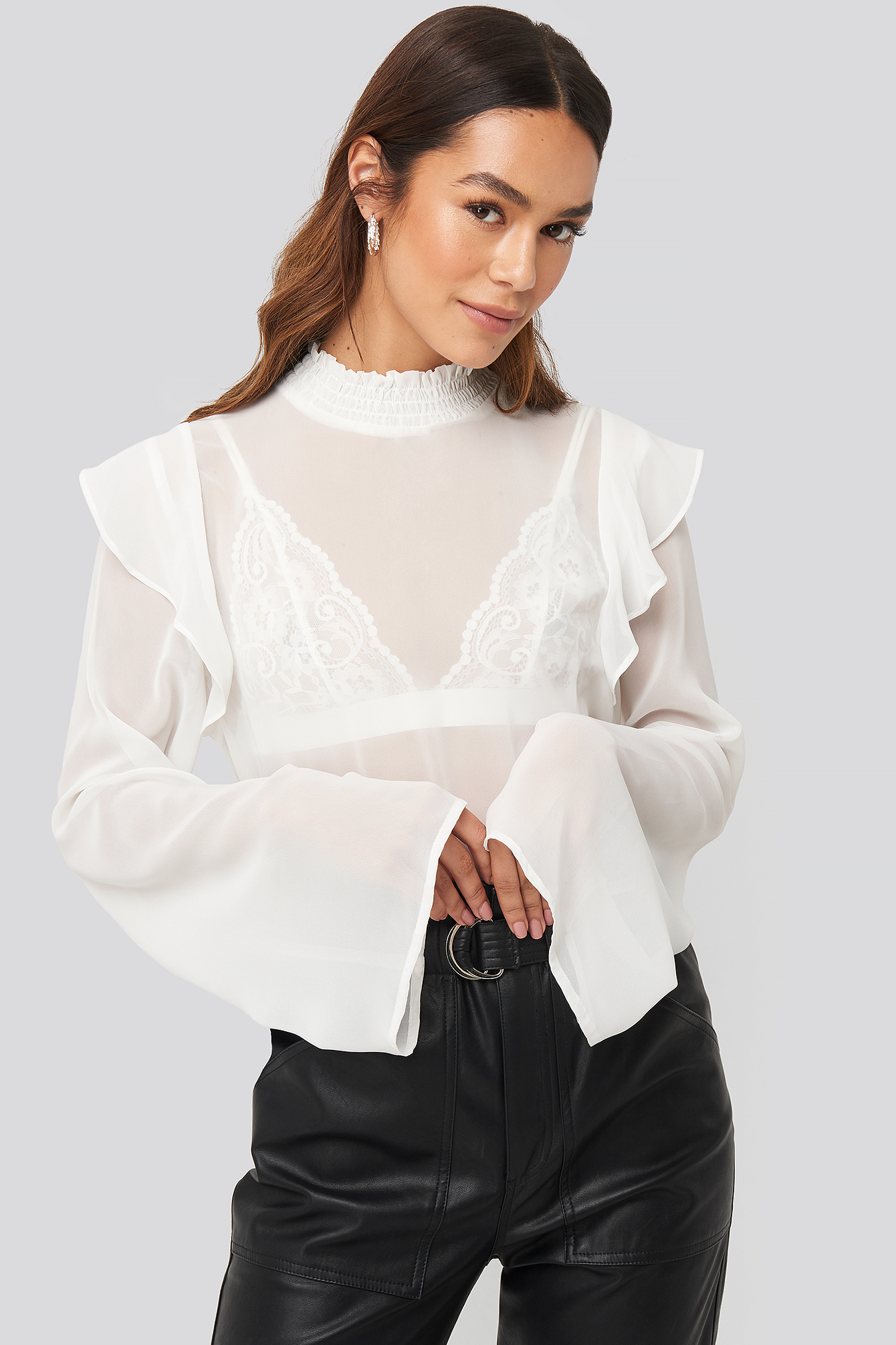 Wide Sleeve Frill Blouse Blanc by Na Kd Trend