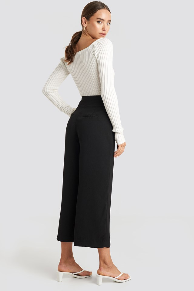 Wide High Waist Pants Black