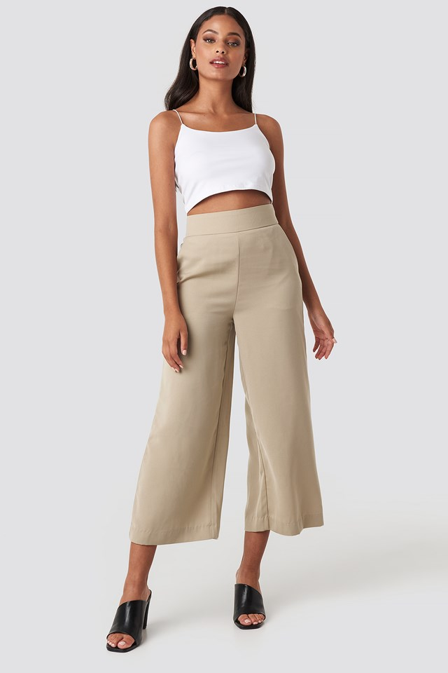 Wide High Waist Pants Light Beige