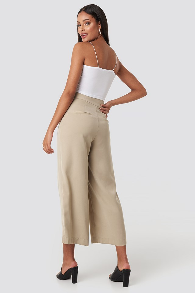 Wide High Waist Pants Light Beige