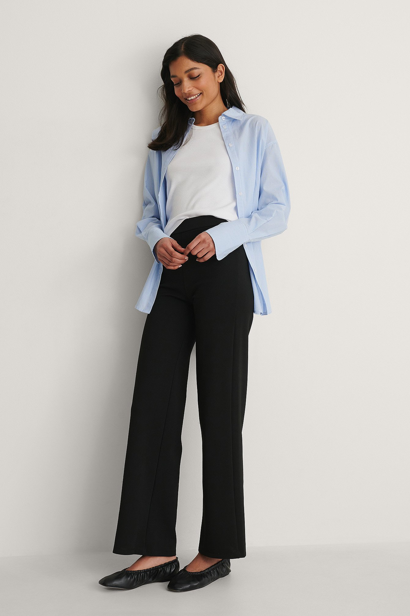 Black Wide Jersey Pants