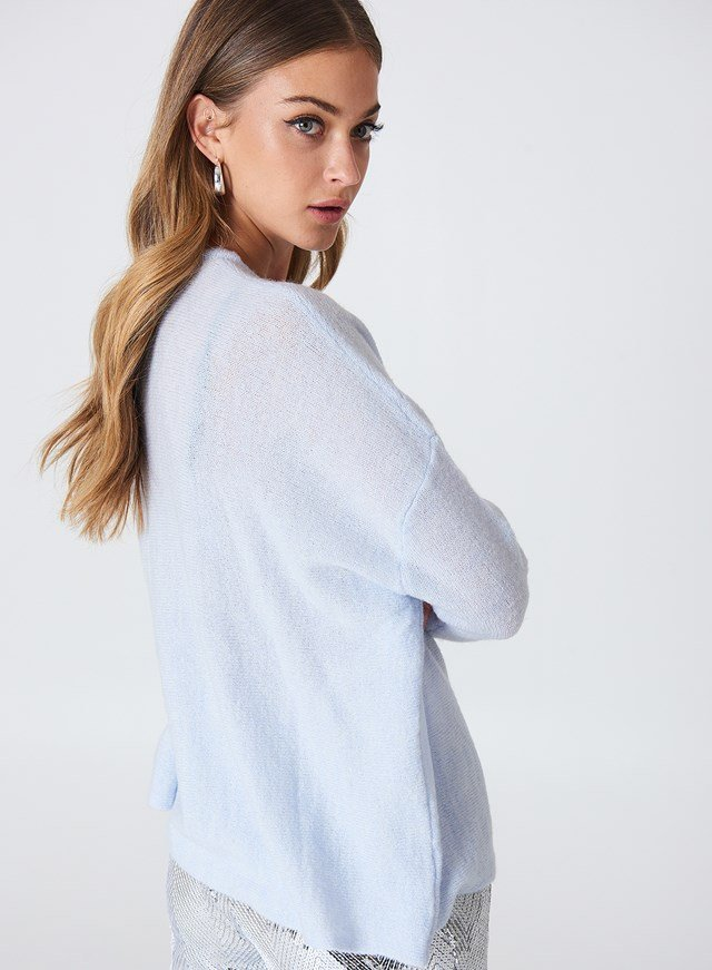 Wide Knitted Melange Sweater Cloud
