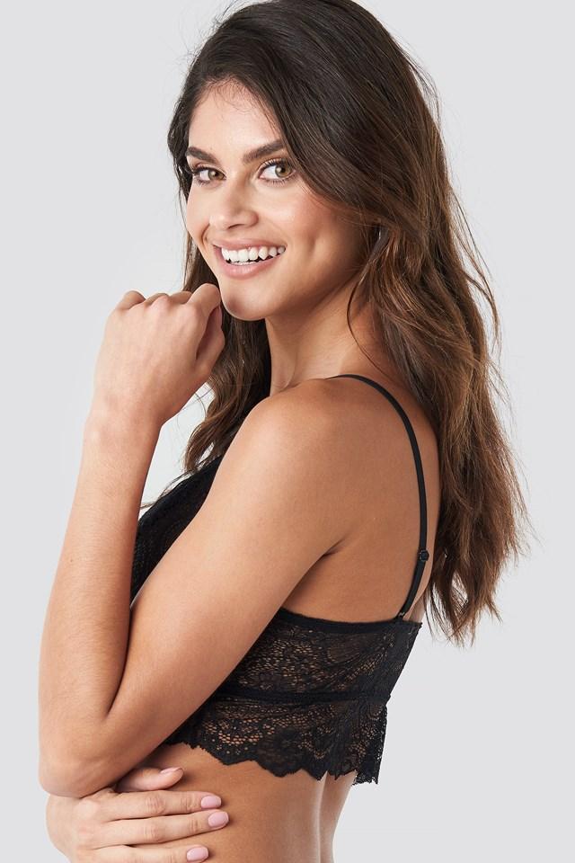 Wide Lace Overlap Bralette Black