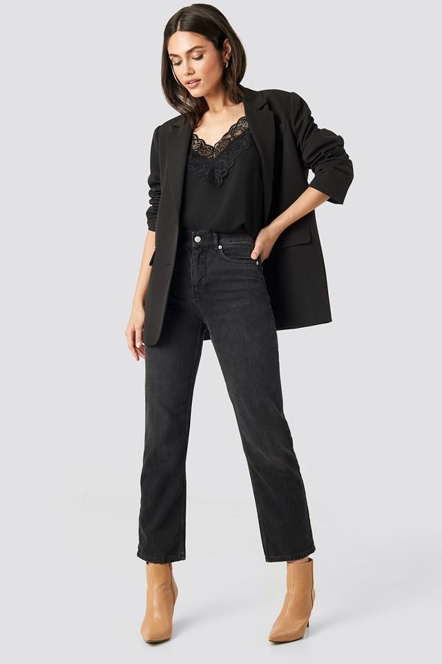 Wide Lace Strap Singlet Black
