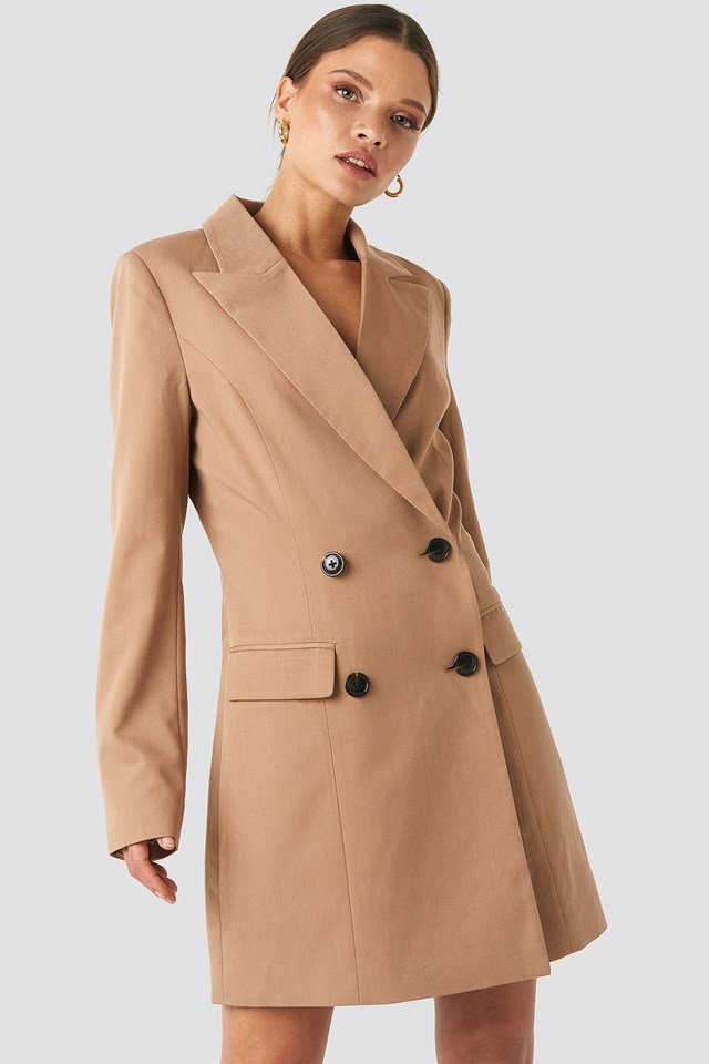 Wide Lapel Blazer Dress Camel
