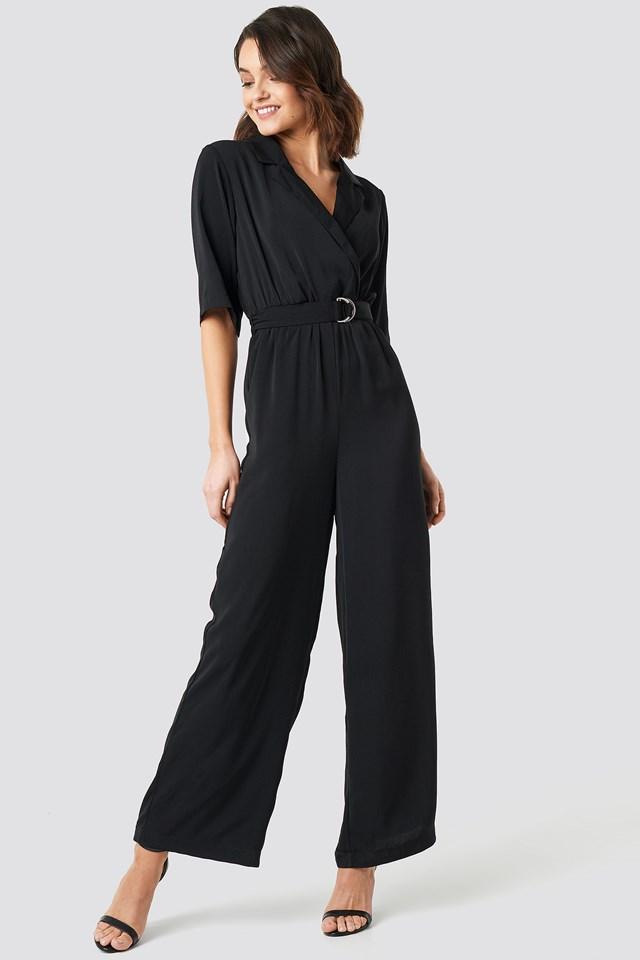 Wide Leg Belted Jumpsuit Black
