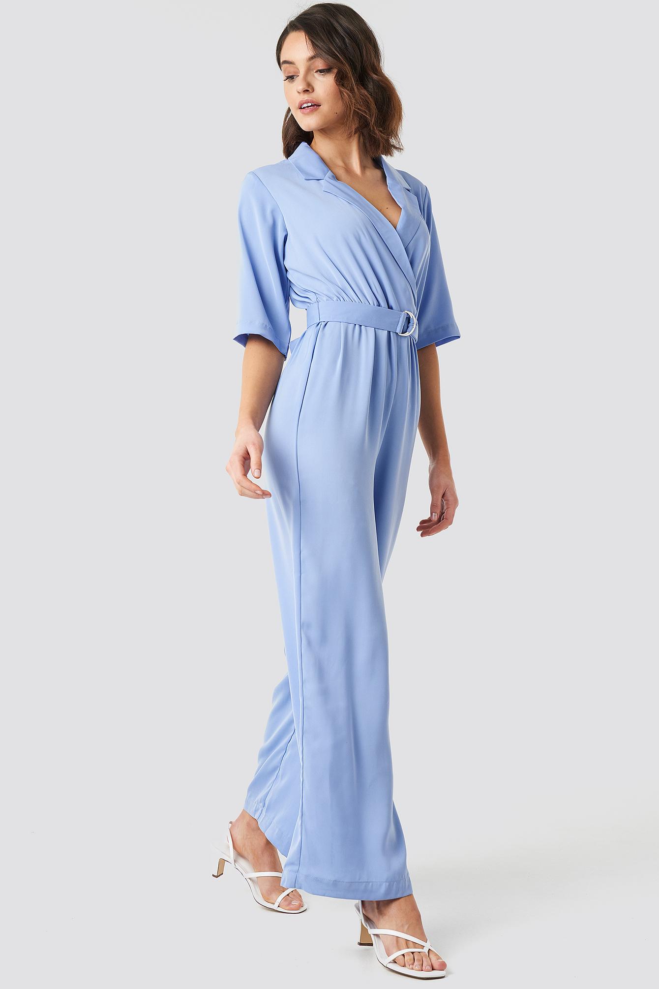 na-kd -  Wide Leg Belted Jumpsuit - Blue