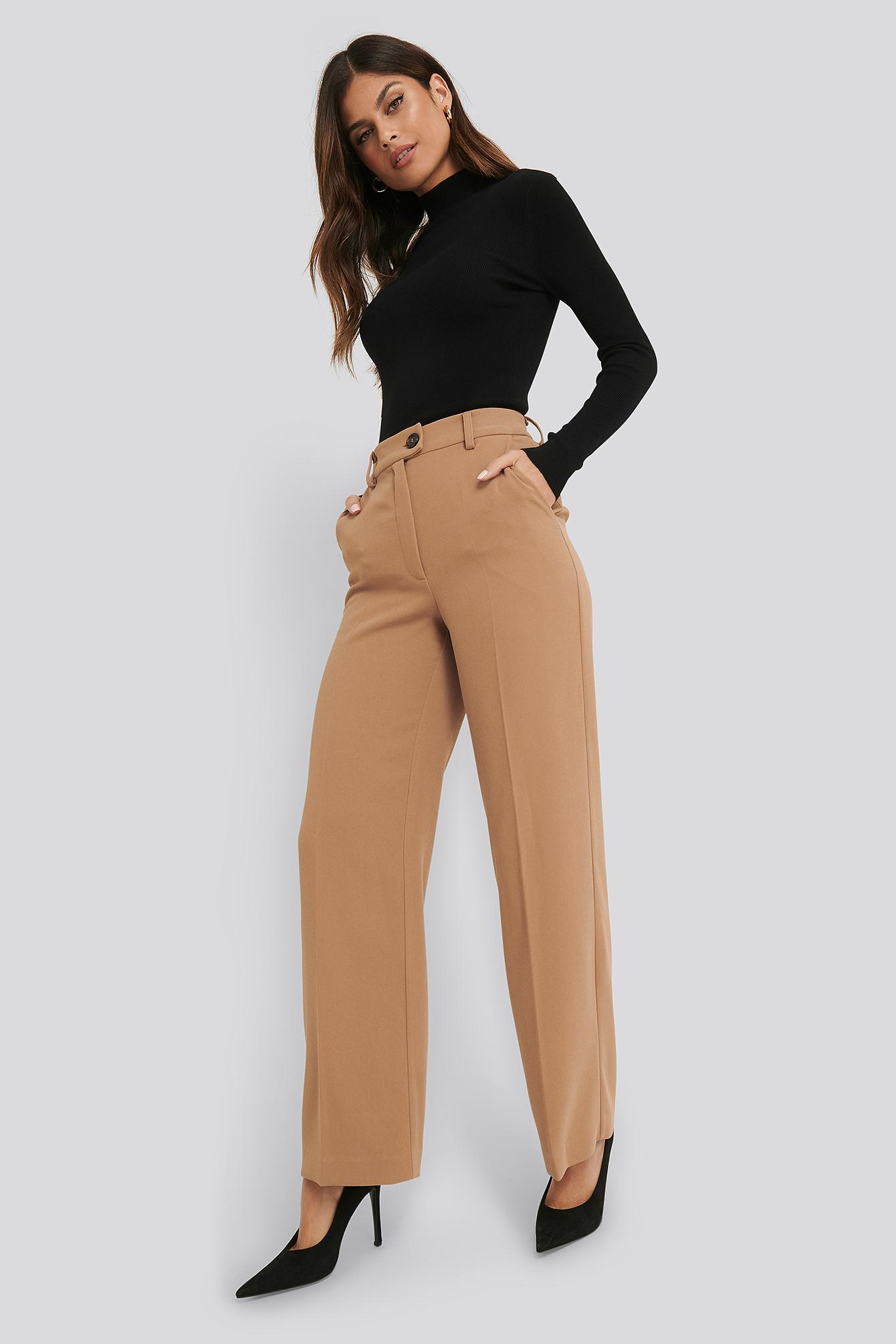 na-kd classic -  Wide Leg Button Pants - Beige
