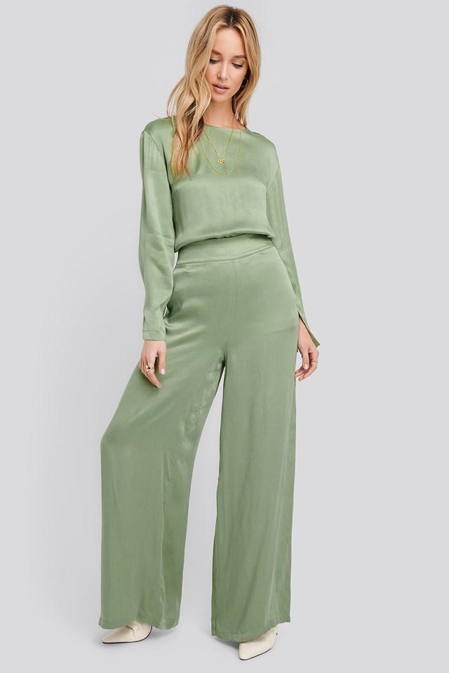 Wide Leg High Waist Pants Green